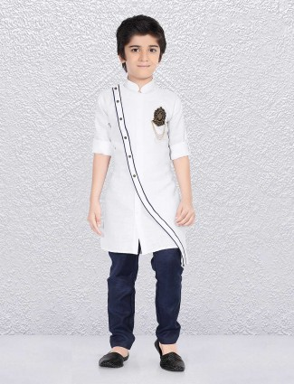 Solid ivory white party kurta suit