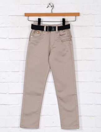 Solid khaki denim jeans for boys