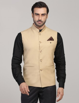 Solid khaki terry rayon waistcoat party wear