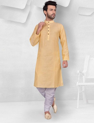 Solid lemon yellow cotton kurta suit