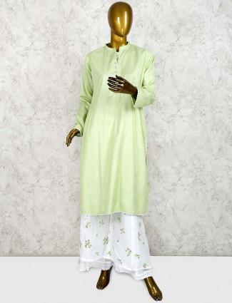 Solid light green cotton punjabi palazzo suit