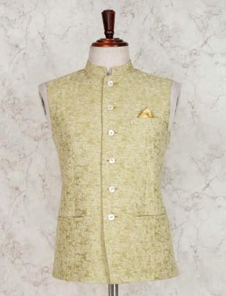 Solid light green terry rayon waistcoat