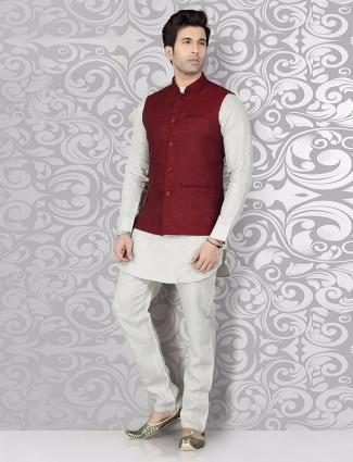 Solid maroon festive wear waistcoat set