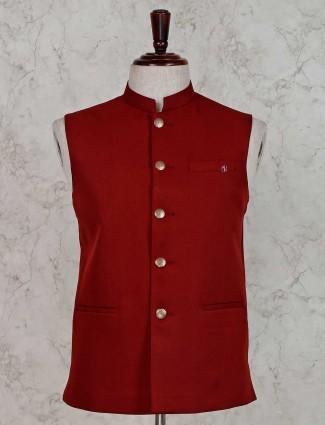 Solid maroon terry rayon waistcoat