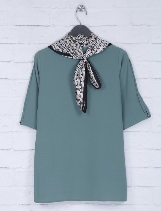 Solid mint green color cotton top