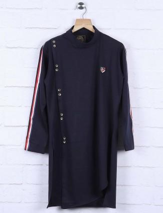 Solid navy colored cotton kurta suit