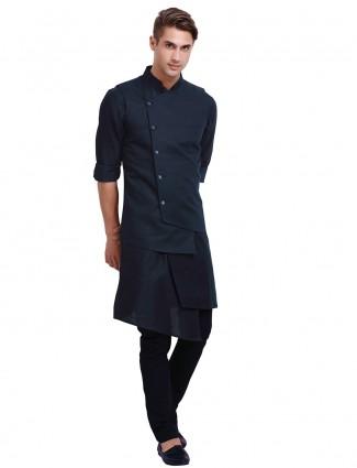 Solid navy cotton mens waistcoat set