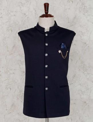 Solid navy terry rayon waistcoat
