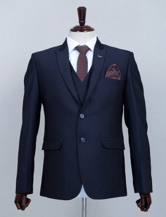 Solid navy two buttoned cotton three piece coat suit