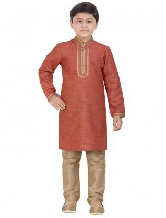 Solid orange cotton festive wear kurta suit