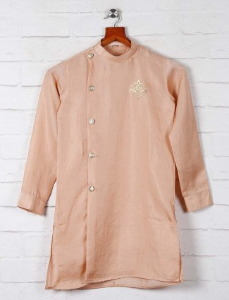Solid peach cotton bopys kurta suit