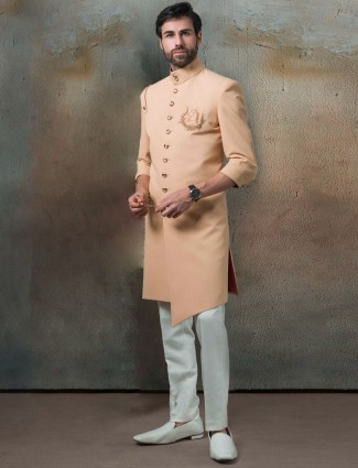 Solid peach hue terry rayon indo western for mens