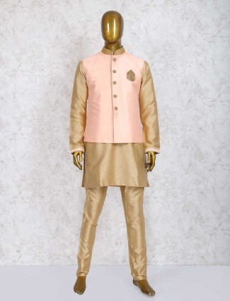 Solid pink and beige raw silk waistcoat set