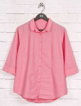 Solid pink cotton casual womens shirt