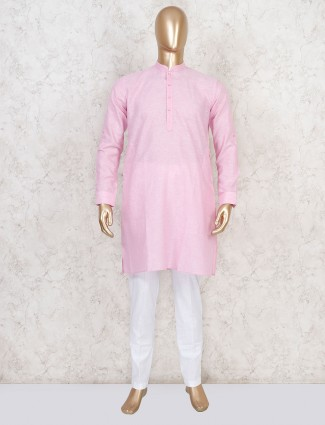 Solid pink cotton kurta suit for mens