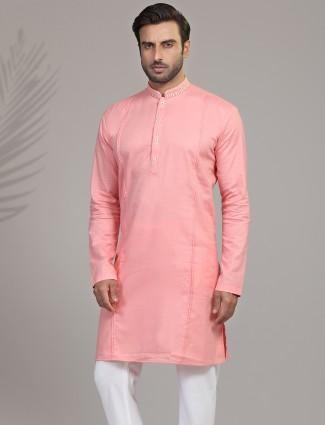 Solid pink cotton silk only kurta