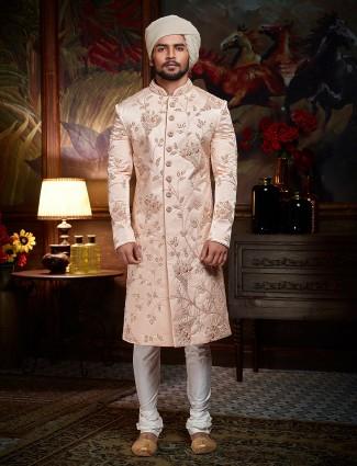 Solid pink designer sherwani for wedding