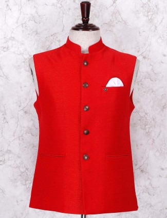 Solid red colored jute fabric waistcoat