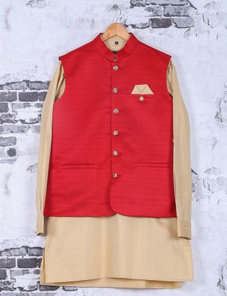 Solid red cream silk festive wear waistcoat set