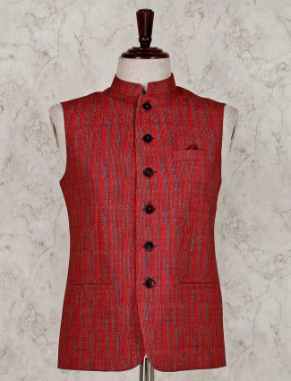 Solid red stand collar raw silk waistcoat