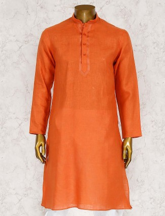 Solid rust orange cotton fabric kurta suit