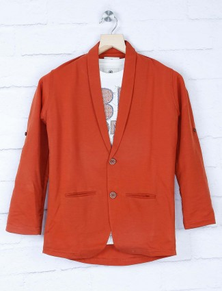 Solid rust orange party blazer