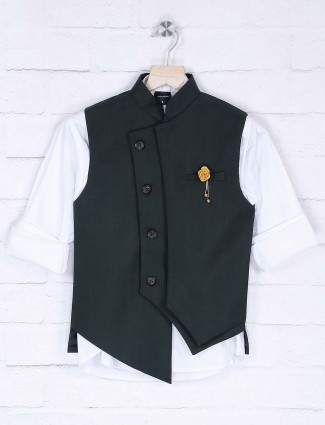 Solid terry rayon black and white waistcoat set