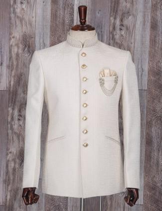 Solid wedding wear cream jodhpuri suit