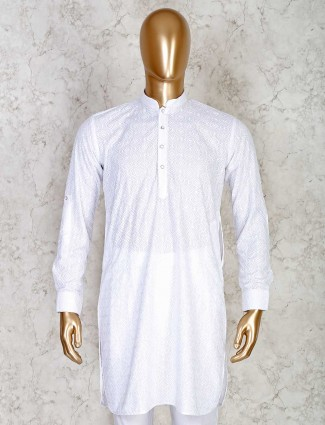 Solid white chikan work cotton short pathani