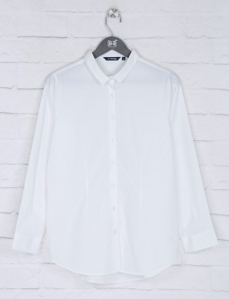 Solid white cotton full sleeves top