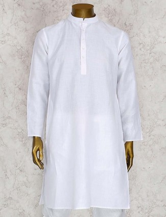 Solid white cotton kurta suit