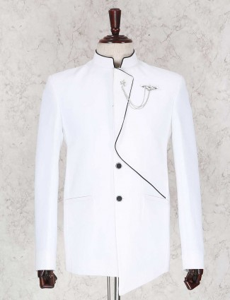 Solid white wedding wear jodhpuri suit