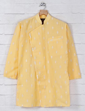 Solid yellow cotton boys kurta suit