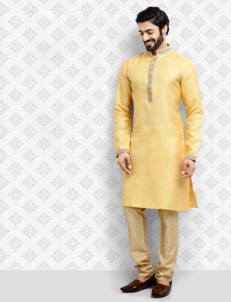 Solid yellow cotton fabric kurta suit