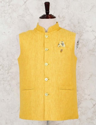 Solid yellow cotton party waistcoat