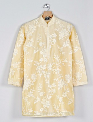 Solid yellow kurta suit in cotton silk