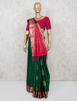 South pure silk saree for wedding in green