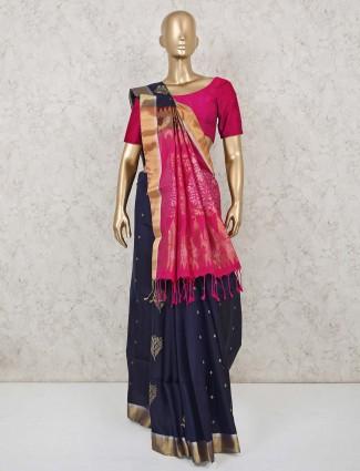South silk saree in navy blue color