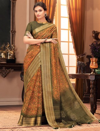 Splendid olive cotton silk festive wear saree