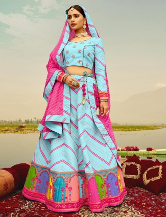 Splendid readymade festive wear lehenga choli in sky blue