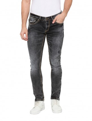 Spykar casual wear solid dark grey jeans