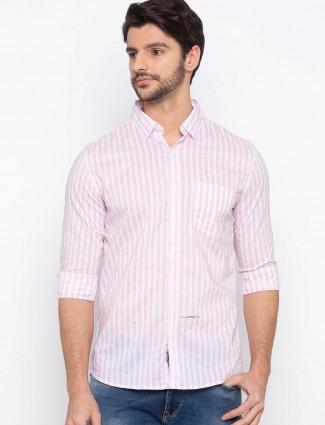 Spykar presented pink stripe shirt