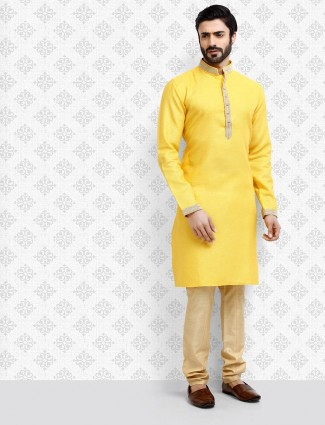 Stand collar yellow hue cotton kurta suit