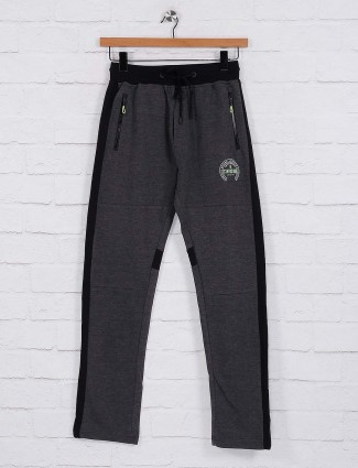 Status Quo cotton fabric dark grey track pant