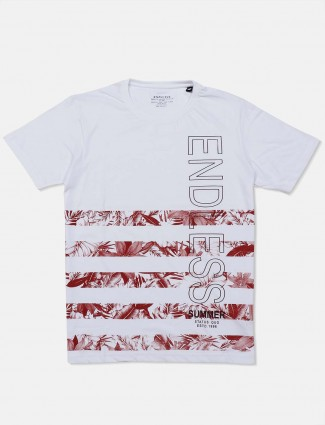 Status Quo round neck white printed t-shirt