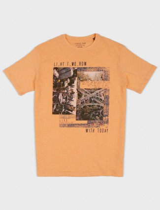 Status Quo slim fit orange printed t-shirt