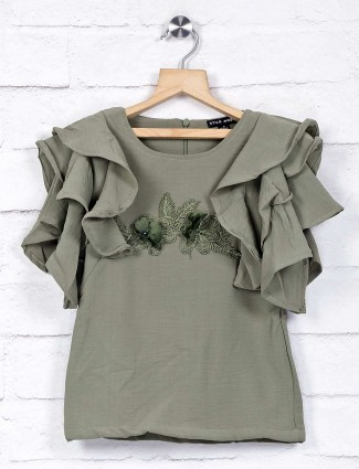 Stilomoda olive cotton top for pretty girls