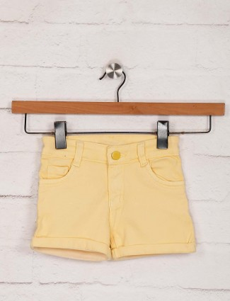 Stilomoda yellow denim solid casual shorts
