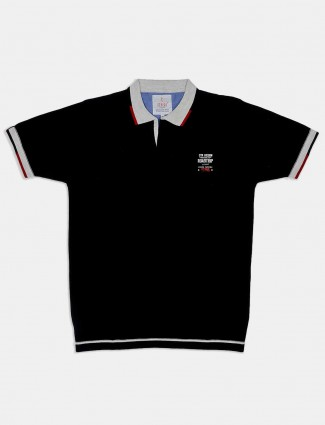 Stride black solid polo neck t-shirt