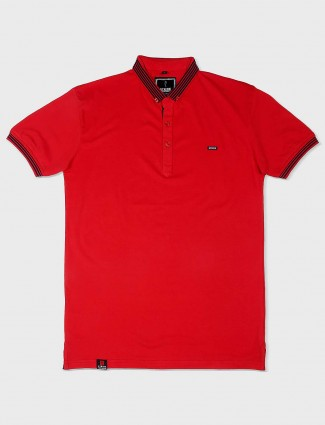 Stride casual red solid t-shirt